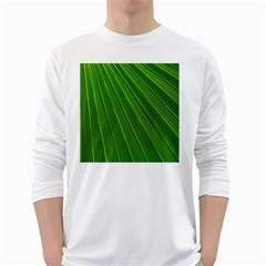 Green Lines Macro Pattern White Long Sleeve T Shirts