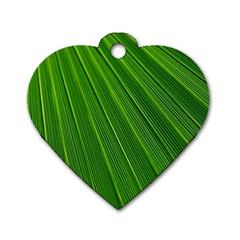 Green Lines Macro Pattern Dog Tag Heart (Two Sides)