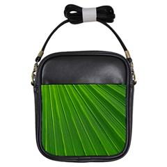 Green Lines Macro Pattern Girls Sling Bags