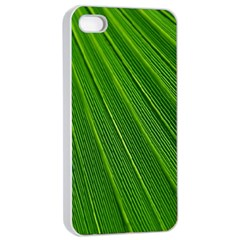 Green Lines Macro Pattern Apple Iphone 4/4s Seamless Case (white)
