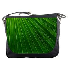Green Lines Macro Pattern Messenger Bags