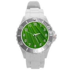 Green Lines Macro Pattern Round Plastic Sport Watch (l)
