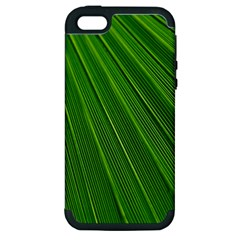 Green Lines Macro Pattern Apple Iphone 5 Hardshell Case (pc+silicone)