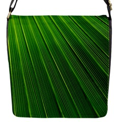 Green Lines Macro Pattern Flap Messenger Bag (S)