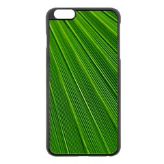 Green Lines Macro Pattern Apple Iphone 6 Plus/6s Plus Black Enamel Case