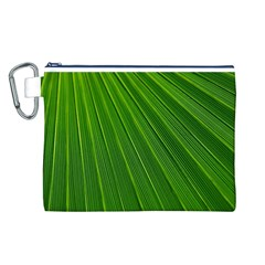 Green Lines Macro Pattern Canvas Cosmetic Bag (l)