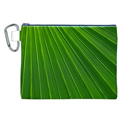 Green Lines Macro Pattern Canvas Cosmetic Bag (xxl)