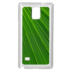 Green Lines Macro Pattern Samsung Galaxy Note 4 Case (White)