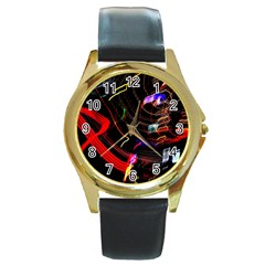 Night View Night Chaos Line City Round Gold Metal Watch
