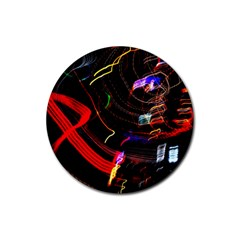 Night View Night Chaos Line City Rubber Round Coaster (4 pack)