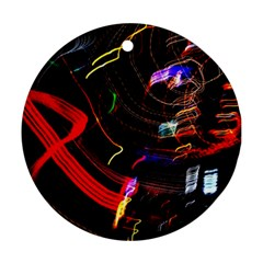 Night View Night Chaos Line City Round Ornament (two Sides)