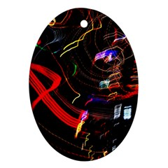 Night View Night Chaos Line City Oval Ornament (two Sides)