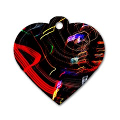 Night View Night Chaos Line City Dog Tag Heart (two Sides)