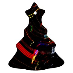 Night View Night Chaos Line City Christmas Tree Ornament (two Sides)