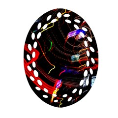 Night View Night Chaos Line City Oval Filigree Ornament (two Sides)