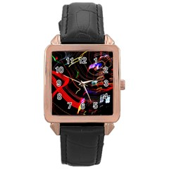 Night View Night Chaos Line City Rose Gold Leather Watch