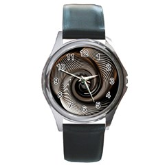 Abstract Background Curves Round Metal Watch