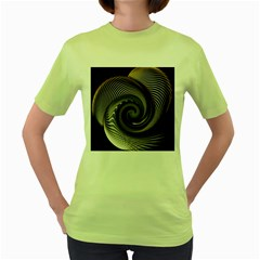 Abstract Background Curves Women s Green T Shirt