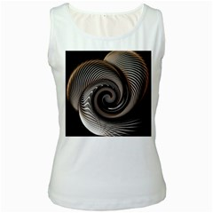 Abstract Background Curves Women s White Tank Top