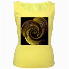 Abstract Background Curves Women s Yellow Tank Top