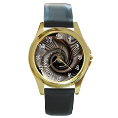 Abstract Background Curves Round Gold Metal Watch