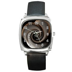 Abstract Background Curves Square Metal Watch