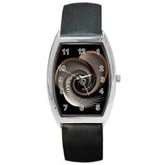 Abstract Background Curves Barrel Style Metal Watch