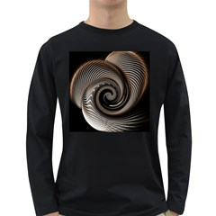 Abstract Background Curves Long Sleeve Dark T-Shirts