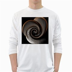 Abstract Background Curves White Long Sleeve T Shirts