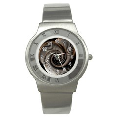 Abstract Background Curves Stainless Steel Watch