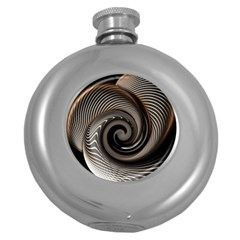 Abstract Background Curves Round Hip Flask (5 Oz)