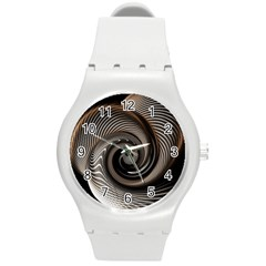 Abstract Background Curves Round Plastic Sport Watch (m)
