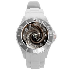 Abstract Background Curves Round Plastic Sport Watch (L)