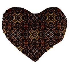 Tribal Geometric Print Large 19  Premium Flano Heart Shape Cushions