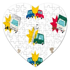 Accident Crash Car Cat Animals Jigsaw Puzzle (heart)