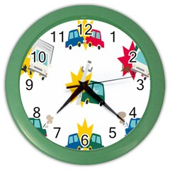 Accident Crash Car Cat Animals Color Wall Clocks