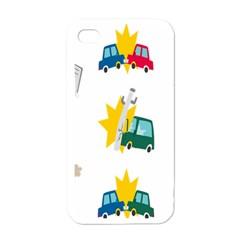 Accident Crash Car Cat Animals Apple iPhone 4 Case (White)