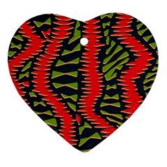 African Fabric Red Green Ornament (heart)