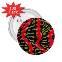 African Fabric Red Green 2.25  Buttons (100 pack)