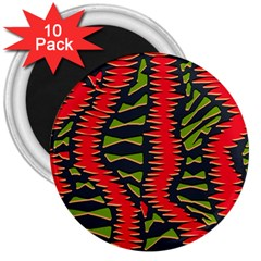 African Fabric Red Green 3  Magnets (10 Pack)