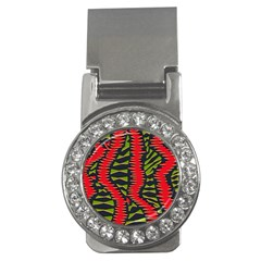 African Fabric Red Green Money Clips (CZ)