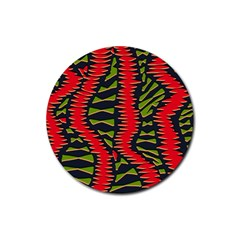 African Fabric Red Green Rubber Coaster (round)
