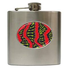African Fabric Red Green Hip Flask (6 oz)