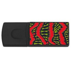 African Fabric Red Green Usb Flash Drive Rectangular (4 Gb)