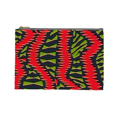 African Fabric Red Green Cosmetic Bag (Large)