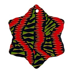 African Fabric Red Green Ornament (Snowflake)