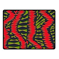 African Fabric Red Green Double Sided Fleece Blanket (Small)