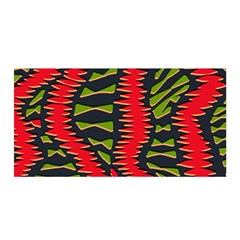 African Fabric Red Green Satin Wrap