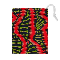 African Fabric Red Green Drawstring Pouches (extra Large)