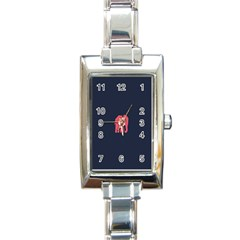 Animals Elephant Pink Blue Rectangle Italian Charm Watch